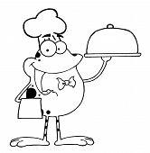 Outline Of A Waiter Frog Holding A Platter