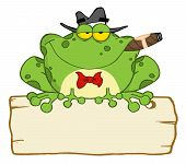 Frog Smoking A Cigar On A Wood Sigh