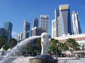 Singapore Landscape With Merlion
