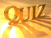 picture of quiz  - 3D Quiz Gold Text on yellow background - JPG