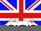 Millennium dome, London and British flag illustration
