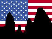 Austin Skyline with American flag illustration