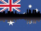 Horizonte de Melbourne contra la ilustración de la bandera australiana