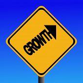 Growth warning sign on blue sky illustration