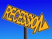 Recession warning sign on blue sky illustration