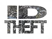 ID theft text with shredded paper inverted colour background