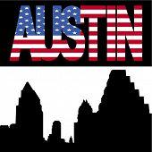 Austin Skyline with Austin flag text illustration