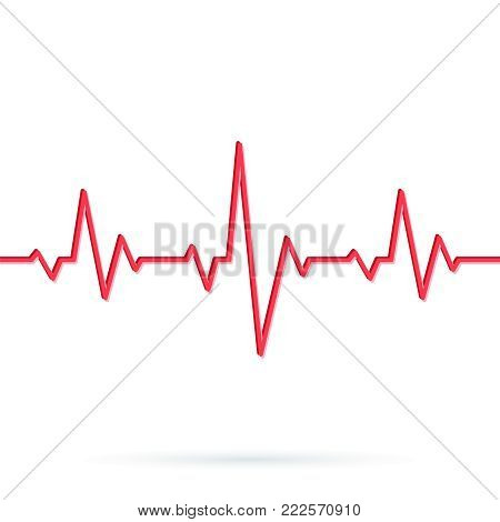 poster of Heartbeat line. Seamless background. Vector illustration of Red heart rhythm ekg. Pulse Cardiogram pattern or icon
