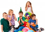 Birthday child clown playing with children. Kid holiday cakes celebratory and balloons the happiest  poster