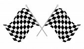 stock photo of dragster  - two crossed black and white race flags - JPG