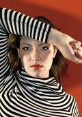 stock photo of gare  - young girl with stripes - JPG
