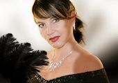 stock photo of collier  - alluring woman with jewellery and evening dress - JPG