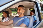 Family In Car Going On Road Trip poster