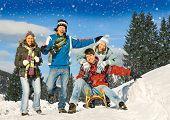 Постер, плакат: друзья весело зимой