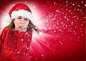 cute joyful girl with santa-clothes