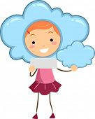 Illustration of a Kid Holding Blank Note Representing a Cloudy Weather