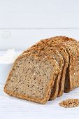 Whole Wheat Grain Bread Slice Slices Sliced Loaf Square On Wooden Board poster