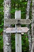 Trail sign in Acadia National Park,Maine