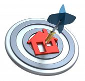 Dart on house target. Dart hit the center of house icon isolated on white background. Computer gener