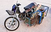 foto of sidecar  - Old Motorcycle With Sidecar on the street - JPG