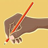 Hand With Red Pencil