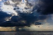 Crepuscular Rays Over The Tisza Lake