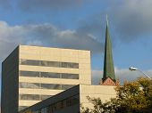 Buildings And A Church Steeple