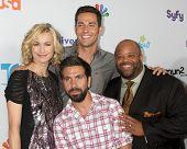 LOS ANGELES - AUG 1:  Yvonne Strahovski, Zach Levi, Mark Christopher Lawrence, Joshua Gomez (front)