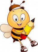 image of bee cartoon  - Illustration of a Bee Carrying a Pencil - JPG