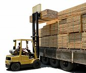 Unloading Wood Truck