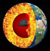foto of lithosphere  - Earth core on a black background - JPG