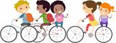 Illustration of Kids Biking to School