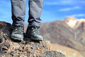hiking boots / hiking shoes in mountain nature landscape. All year wear. Photo Tenerife, Canary Isla