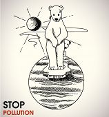 stock vector : stop global warming - environmental poster with a hand-drawn polar bears