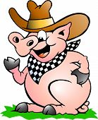 Hand-drawn Vector Illustration Of An Pig Chef That Welcomes