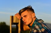 Man Thinking In Sunrise, Fashion poster