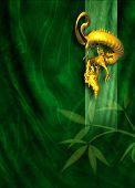 Golden Dragon On Green Cloth Background