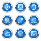 Drives and storage web icons, blue buttons