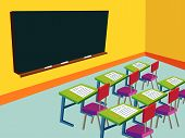 Classroom With Empty Blackboard (Vector)