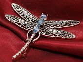 stock photo of dowry  - beautiful dragonfly jewelry on a satin background - JPG
