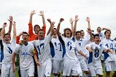 KAPOSVAR, HUNGARY - JULY 23: Brescia players celebrate win at the VII. Youth Football Festival Under