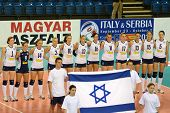 DEBRECEN, HUNGARY - JULY 9: Israeli National Team before a CEV European League woman's volleyball game Hungary (black) vs Israel (white) on July 9, 2011 in Debrecen, Hungary.