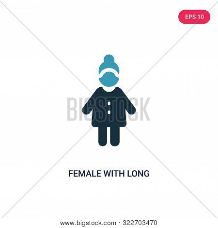 poster of female with long hair icon in two color design style.