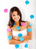 Woman with post-its - isolate dover a white background