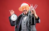 Join Christmas Celebration. Man Bearded Hipster Santa Hold Bottle. Corporate Christmas Party. Lets C poster