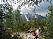 Young Woman Looking On Mountains In Front Of Her. Alps, Italy, Dolomites. Young Girl Traveler Sittin poster