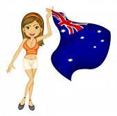 Illustration of a sexy woman cheering for australia