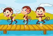 illustration of 3 monkeys dancing on a pier
