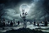 Skeleton Zombie Hand Rising Out Of A Graveyard - Halloween poster