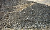 Pile Of Gravel And Stones At A Construction Site In An Excavation Pit, Gray Gravel Heap poster
